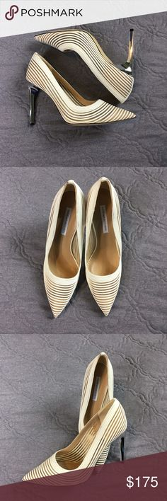 DVF Bridget White Leather Striped Pumps Mesh Super sexy summer time pump. As seen on Gabrielle Union. White leather, with nude mesh. Pretty much new, no wear to sole or insole. No trades. Diane von Furstenberg Shoes Heels
