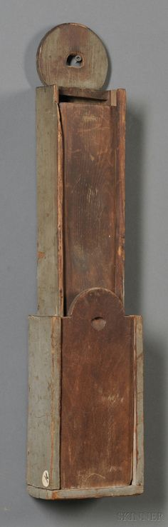 Gray-painted Wooden Hanging Slide-lid Scrub Box, America, 19th century