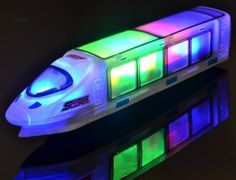 WolVol Beautiful Lightning Electric Train Toy with Music, goes around and changes directions on contact (Battery Powered) - Great Gift Toys for Kids