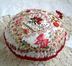 I ❤ crazy quilting & embroidery . . . My Little Rose Garden Crazy Quilted  PinCushion