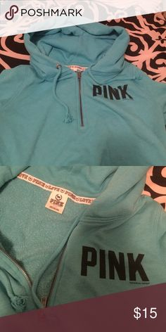Pink by Victoria's Secret Half Zip Hoodie This half zip hoodie hasn't been worn much, the zipper doesn't have a wave, and the sleeves are in good condition. PINK Victoria's Secret Jackets & Coats Utility Jackets