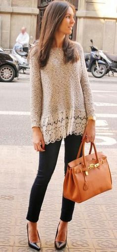 Beige Patchwork Hollow-out Lace Hem Long Sleeve Casual Fashon Pullover Sweater