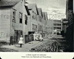 This circa view of Walker Ct. (now Ada St.) is in Chicago's Pilsen neighborhood. is basically an alley and those are the backs of the houses that fronted on the 1600 block of S. Chicago Attractions, Chicago Tours, Chicago Neighborhoods, Chicago City, Chicago Skyline, Chicago Illinois, Chicago Photography, Vintage Photography, Chicago Things To Do