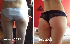 """Butt before and after---- proof that genetics aren't everything... you can earn that """"donk"""" even if you weren't born with it."""