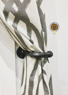 Hold your curtains and let the sun shine in by using our curtain tie backs. This industrial, modern L-shape pipe curtain holder will make your guests stop, stare and wonder! Farmhouse Curtains, Rustic Curtains, Drapes Curtains, Curtain Holder, Curtain Tie Backs, Kitchen Curtain Sets, Kitchen Curtains, Industrial Curtains, Industrial Bathroom
