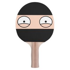 Cartoon Ninja Ping Pong Paddle (Black)