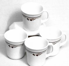 Items similar to 4 Lot Corelle Corning Melody Cup Mug D Handle Microwave Brown White Flower on Etsy Stainless Steel Coffee Mugs, Stainless Steel Thermos, Glass Coffee Mugs, Beer Mugs, Line Flower, Brown Line, Stoneware Mugs, Glass Collection, Mug Cup
