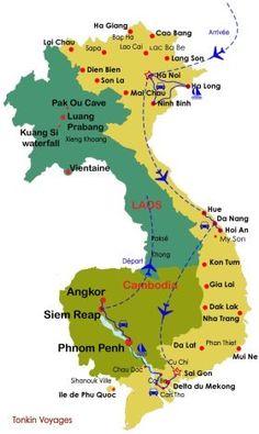 Circuit Au coeur de l'Extrême-Orient - Voyage sur mesure Vietam Cambodge avec une agence locale Vietnam Map, Vietnam Tourism, Vietnam Destinations, Vietnam Voyage, South Vietnam, Vietnam Travel, Asia Travel, Japan Travel, Travel Maps