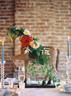 grey likes weddings | wedding centerpieces | table inspiration | horse centerpiece | year of the horse