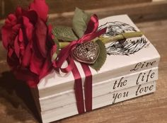 Handmade Book Decor by SantanaAmosArt Crafts To Sell, Diy And Crafts, Arts And Crafts, Book Decorations, Wedding Decorations, Book Sayings, Stacked Books, Recycled Books, Wood Book