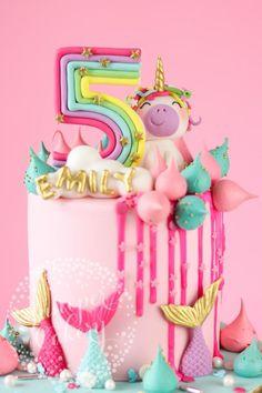 Magically fun Rainbow Unicorn and Mermaid Birthday Cake! - Magically fun Rainbow Unicorn and Mermaid Birthday Cake! 5th Birthday Cake, Mermaid Birthday Cakes, Mermaid Cakes, Rainbow Birthday, Unicorn Birthday Parties, Birthday Ideas, Princess Birthday Cakes, Birthday Cakes For Girls, Cakes For Kids