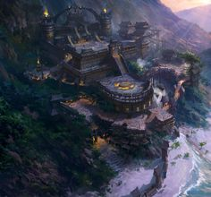 Stunning Concept Arts by Dawnpu Fantasy city painting. Fantasy City, Fantasy Castle, 3d Fantasy, Fantasy Places, Fantasy Setting, Fantasy Kunst, Fantasy Landscape, Fantasy World, Landscape Art