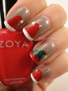 Santa Hat CHRISTMAS  #nail #nails #nailart