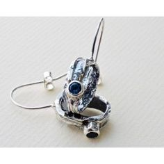 Cascade oxidised silver small drop earring by Sally Ratcliffe