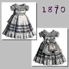 Pique Dress for Girl aged 1 to 3 years - Victorian Reproduction PDF Pattern - 1870's -   made from original 1870 Harper's Bazar pattern by RepeatedOriginals on Etsy