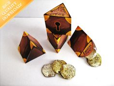 Mini triangle treasure boxes, perfect for small treats at a pirate party or favors at an Inn by the sea. http://etsy.me/UqSuLS