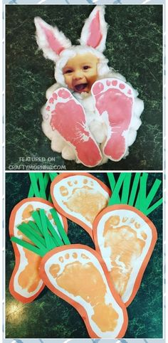 Easter footprint bunny photo keepsake craft for the kids to make! Also find footprint carrots for an easter art project. Easter footprint bunny photo keepsake craft for the kids to make! Also find footprint carrots for an easter art project. Easter Crafts For Toddlers, Daycare Crafts, Bunny Crafts, Easter Crafts For Kids, Crafts To Do, Easter Projects, Garden Projects, Easter For Babies, Crafts For Babies