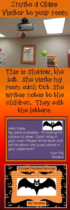 Your students will love editing the letters that Shadow writes for them each day. She is looking for a quiet place to sleep. Do you have one for her in your classroom? Could use with any subject Classroom Fun, Classroom Activities, Future Classroom, Halloween Activities, Holiday Activities, Holiday Classrooms, Preschool Bulletin, Classroom Projects, Classroom Design