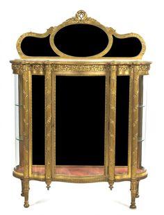 A Louis XVI Style Giltwood Vitrine, Height 67 5/8