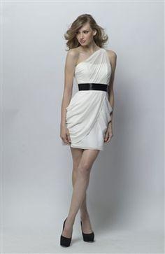 Chiffon White Sheath One Shoulder Mini Bridesmaid Dresses US$79.00