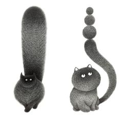 Delicate Inked Lines Form Fluffy Black Cats in Illustrations by Kamwei Fong | Colossal