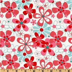 Michael Miller Aqua Red Nearby Floral Aqua-- available 6/4