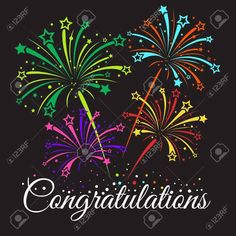 Congratulations text and star fireworks abstract vector , Congratulations Images, 3d Painting, Happy Birthday Wishes, Fireworks, Thankful, Messages, Abstract, Badminton, Art