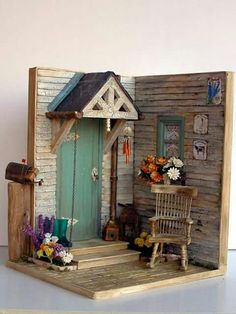 Handmade miniature Scene 112 scale An autumnal porch by Pequeneces Vitrine Miniature, Miniature Rooms, Miniature Crafts, Miniature Houses, Miniature Gardens, Miniature Furniture, Creation Deco, Marianne Design, Miniture Things