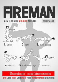 Fireman Strength Workout / Works: Quads, chest, triceps, biceps, abs, core, lower abs, lower back and glutes.