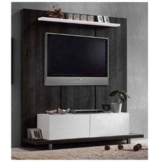 Panel TV wall Life μαύρο δρυς-λευκό 160x46x175  - 138,50 Tv Display, Life Tv, Tv Unit Design, Living Room, Wall, Furniture, Beds, Home Living Room, Walls