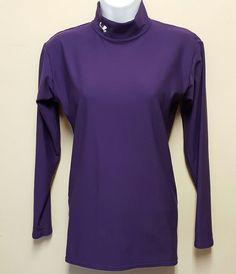 Under Armour Medium Purple Compression Top Shirt Mock Turtleneck Base Layer #UnderArmour #BaseLayers