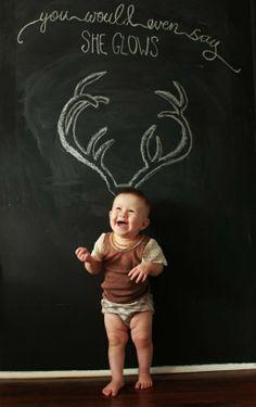 2013 Christmas kids photo, creative photo of baby like Christmas reindeer
