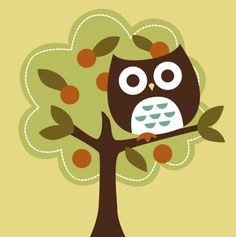 Free retro owl cross stitch design by illustrator Nancy Lee via Crossstitcher