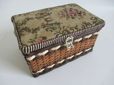 Vintage brown cream tapestry lid sewing box / basket full with contents