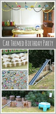 Car Themed Birthday Party: Including car decorations, car treat bags, car treats, car activities and more! ~ BuggyandBuddy.com