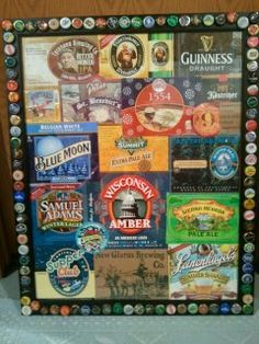 One of a kind, inexpensive Christmas gift for my husband, customized with labels from his favorite brands of beer and surrounded by bottle caps. I used Elmer's spray adhesive on the cut out labels/paper 6 pack holders and hot glue on the bottle caps. Total cost: about $25 if the frame is on sale. : )