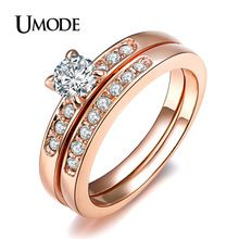 UMODE 18K Rose Gold Plated with Pave Band 0.5ct Brilliant Cubic Zirconia Wedding Ring Set JR0057A(China (Mainland))