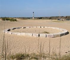 The original foundation of the Hatteras Light before it was moved.