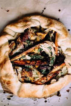 winter vegetable + gorgonzola galette