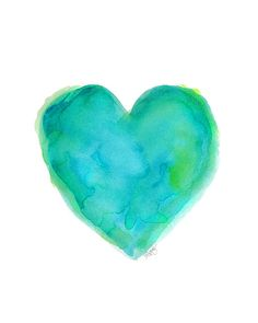 Turquoise Heart Watercolor Print  8x10 Beach Decor Blue and Green Heart