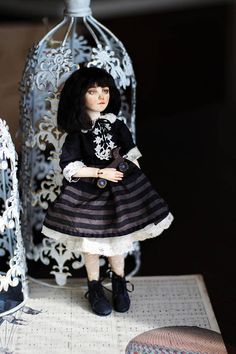 OOAK bjd art doll by Elldolls Bjd, Art Dolls, Goth, Winter Hats, Black And White, Style, Fashion, Goth Subculture, Black White