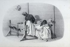 """Bed-stocks for intoxication, etc."" The bed stock is ""generally placed in some of the out-houses belonging to the estate, where the offender may be denied the society and encouragement of his friends or accomplices . . . . A tin mask, such as is put on the heads of Negroes addicted to . . . dirt-eating, is seen hanging against the wall"""