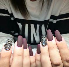 Matte Burgundy/Dark Purple with crystal accent nails