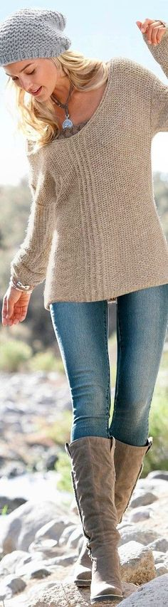 Comfy sweater & love the boots & style/color of the hat