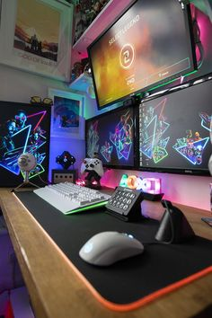 Awesome 42 Fabulous Game Room Design Ideas To Try In Your Home. # Remove viruses,clean virus,repair, fix and speed up your computer ,Troubleshooting your desktop or laptop or another computer related problems you are at the right place . Computer Gaming Room, Gaming Desk Setup, Computer Setup, Pc Setup, Gamer Setup, Video Game Rooms, Gamer Room, Pc Gamer, Game Room Design