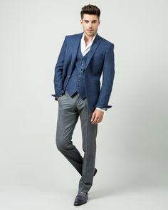 Veste sur mesure en tweed bleu, 1 bouton, 2 poches en biais sans rabat, 510€