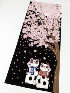 Japan Tenugui Maneki-neko Fortune Cats, Sakura at night japanese fabric, kawaii fabric, Tenugui, cat fabric,cotton