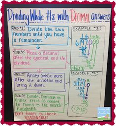 Please enjoy my collection of anchor charts, updated weekly! All of these anchor charts have been used in my own classroom (Gra. Sixth Grade Math, Fourth Grade Math, Math Division, Long Division, Decimal Division, Division Algorithm, Number Anchor Charts, Dividing Decimals, Percents