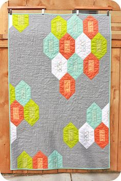 Marine Den quilt from Sewing Over Pins -- nice palette and layout.