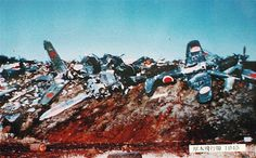 WW2 JAPANESE NAVY | Japanese navy aircraft wrecks on dump Atsugi NAS Japan 1945 photo Japa ...